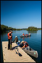 Canoists disembarking, Tobin Harbor. Isle Royale National Park ( color)