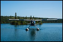 Sea Plane approaching, Tobin Harbor. Isle Royale National Park ( color)
