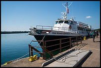 Backpackers and Isle Royale Queen IV ferry. Isle Royale National Park ( color)