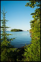 Shaw Island framed by trees of Tookers Island. Isle Royale National Park ( color)