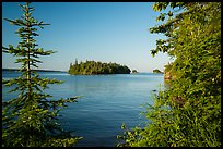 Islands of archipelago framed by trees from Tookers Island. Isle Royale National Park ( color)