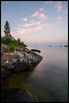 Lakeshore, Rock Harbor, sunset. Isle Royale National Park ( color)