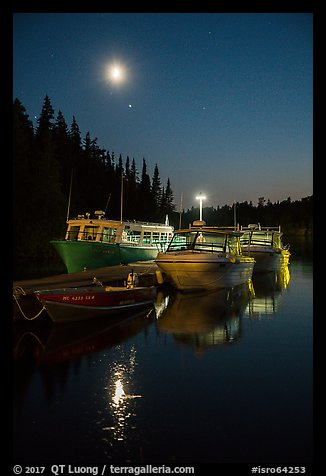 Rock Harbor marina with moon reflected. Isle Royale National Park (color)