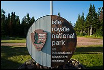 Isle Royale National Park sign, Mott Island. Isle Royale National Park ( color)