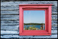Net house window reflection, Edisen Fishery. Isle Royale National Park ( color)