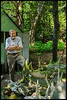 Rolf Peterson and moose skull and antlers collection. Isle Royale National Park ( color)