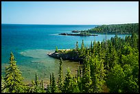 Costline seen from top of Rock Harbor Lighthouse. Isle Royale National Park ( color)