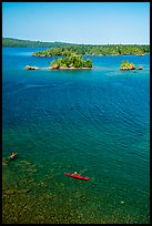 Kayakers, blue waters, and islets from above. Isle Royale National Park ( color)