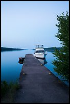 Motorboat and yacht moored at Moskey Basin dock. Isle Royale National Park ( color)