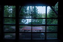 View from inside shelter, Moskey Basin. Isle Royale National Park ( color)