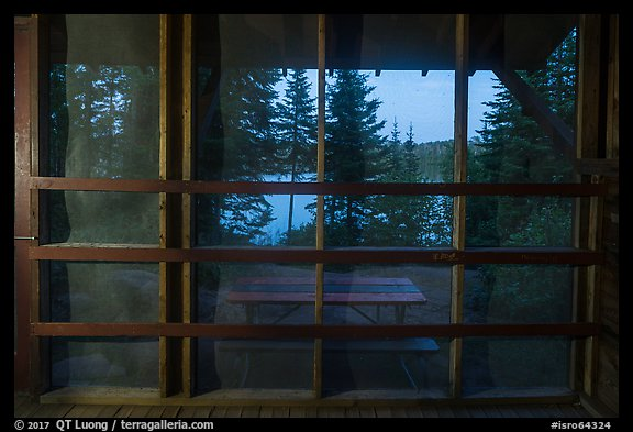 View from inside shelter at dusk, Moskey Basin. Isle Royale National Park (color)