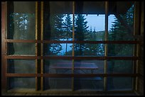 View from inside shelter at dusk, Moskey Basin. Isle Royale National Park ( color)
