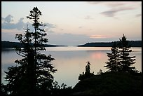 Trees and calm waters, Moskey Basin, dawn. Isle Royale National Park ( color)