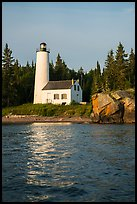 Rock Harbor Lighthouse and reflection. Isle Royale National Park ( color)