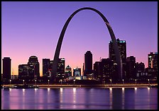 Arch and downtown skyline at sunset. Gateway Arch National Park ( color)