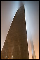 Profile view of Gateway Arch with top in clouds at night. Gateway Arch National Park ( color)