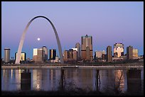 St Louis skyline and Mississippi River at dawn. Gateway Arch National Park ( color)