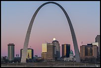 Moonset, downtown buildings, Old Courthouse, framed by Arch. Gateway Arch National Park ( color)