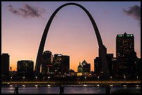Arch and Old Courthouse across Mississippi River at sunset. Gateway Arch National Park ( color)