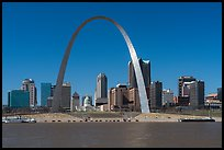 Arch and skyline across Mississippi River. Gateway Arch National Park ( color)