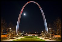 Arch at night and moon above new overpass. Gateway Arch National Park ( color)