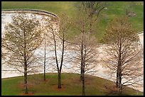 Bare trees and drained North Pond. Gateway Arch National Park ( color)