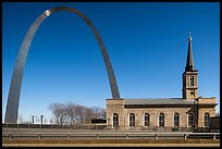 Old Cathedral and Arch. Gateway Arch National Park ( color)
