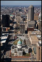 Old Courthouse and downtown St Louis from top of Arch. Gateway Arch National Park ( color)