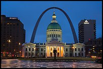 Old Courthouse, Arch, and downtown from Kiener Plaza at night. Gateway Arch National Park ( color)