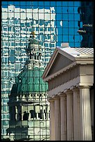 Old Courthouse and its reflection in glass building. Gateway Arch National Park ( color)