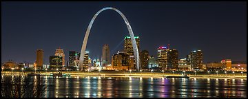 St Louis skyline across Mississippi River at night. Gateway Arch National Park (Panoramic color)