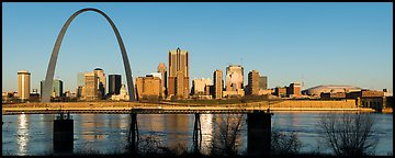 St Louis skyline across Mississippi River at sunrise. Gateway Arch National Park (Panoramic color)
