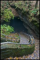 Steps and railing leading down to historical cave entrance. Mammoth Cave National Park ( color)