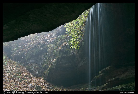 Rain-fed waterfall seen from inside cave. Mammoth Cave National Park, Kentucky, USA.