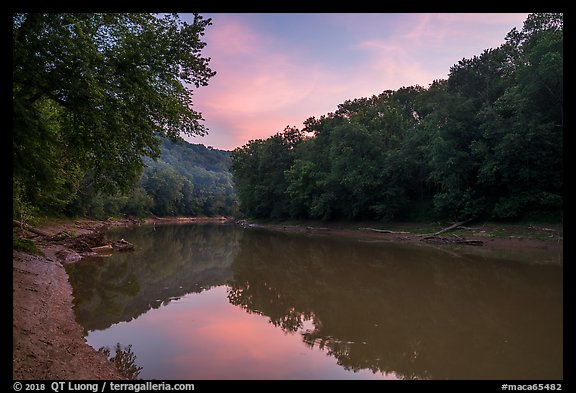 Green River at sunset, Houchin Ferry. Mammoth Cave National Park (color)