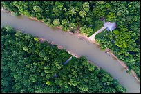 Aerial view of Green River and Houchin Ferry looking down. Mammoth Cave National Park ( color)