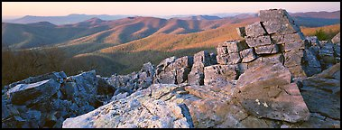 Appalachian landscape with rocks and hills. Shenandoah National Park (Panoramic color)