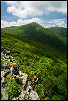Rangers rappelling on Crescent Rock cliff. Shenandoah National Park ( color)