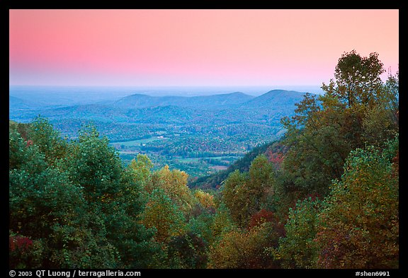 Looking west towards farmlands at sunset. Shenandoah National Park (color)