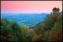 Looking west towards farmlands at sunset. Shenandoah National Park, Virginia, USA. (color)