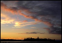 Clouds and islet at sunset, Kabetogama Lake. Voyageurs National Park ( color)