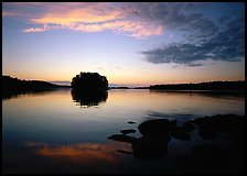 Kabetogama lake sunset with tree-covered islet. Voyageurs National Park ( color)
