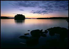 Kabetogama lake sunset with eroded granite and tree-covered islet. Voyageurs National Park ( color)