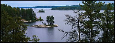 North woods lake scenery with tiny islets. Voyageurs National Park (Panoramic color)