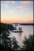 Forested Islets, Anderson Bay, sunrise. Voyageurs National Park ( color)