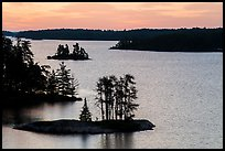 North Woods islets from above, Anderson Bay, sunrise. Voyageurs National Park ( color)