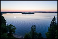 Aerial view of Woodenfrog shore at sunset, Kabetogama Lake. Voyageurs National Park ( color)