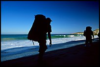 Backpackers on beach, Cuyler harbor, San Miguel Island. Channel Islands National Park ( color)