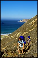 Backpackers in Nidever canyon , San Miguel Island. Channel Islands National Park ( color)