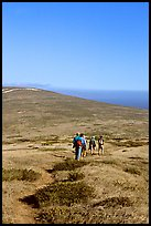 Hiking across  island to Point Bennett, San Miguel Island. Channel Islands National Park ( color)